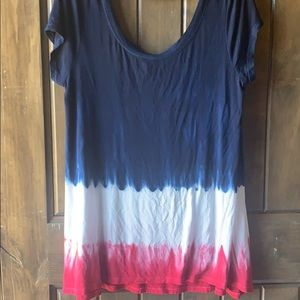 Tie dye red, white and blue tunic large